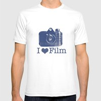 I ♥ Film (Blue/Peach) Mens Fitted Tee White SMALL