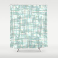 Blue Scribbles 06 Shower Curtain
