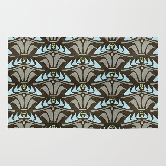 Blue - Arts and Crafts Inspired Stylized Floral Pattern - Susan Weller Area & Throw Rug