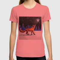 Christmas Fox Womens Fitted Tee Pomegranate SMALL
