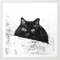 black cat yellow eyes Art Print