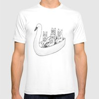 4 Cats On A Boat Mens Fitted Tee White SMALL
