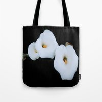 Three Calla Lilies Isolated On A Black Background Tote Bag