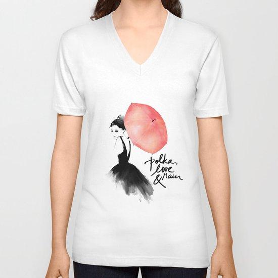 Polka Rain V-neck T-shirt
