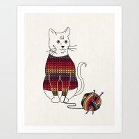 Knitted Cat Art Print