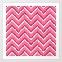 Pink Zig Zag Pattern Art Print