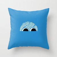 Block Eyes Throw Pillow