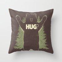Bear Hug? (dark version) Throw Pillow