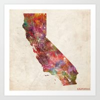 california Art Prints featuring California by MapMapMaps.Watercolors