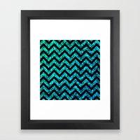 Chevron Aqua Sparkle Framed Art Print