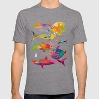Fishes Mens Fitted Tee Tri-Grey SMALL