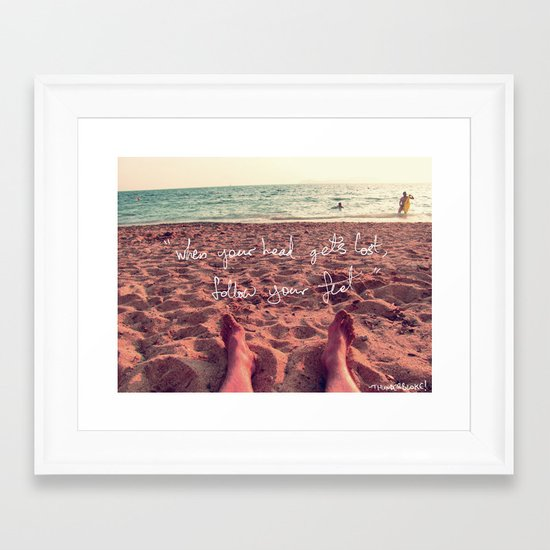 follow your feet Framed Art Print