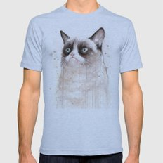 Grumpy Watercolor Cat II Mens Fitted Tee Athletic Blue SMALL