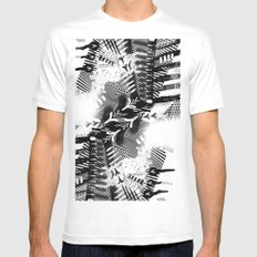 GRAY AND BLACK White Mens Fitted Tee SMALL