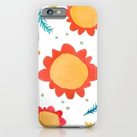 Painted Flowers Orange iPhone 6 Slim Case