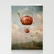 Stationery Cards featuring Tea For Two At Dusk by Paula Belle Flores