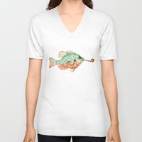 V-neck T-shirt featuring River Sunfish with a Pipe by Goosi
