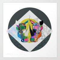 Rhino And RhInO Art Print