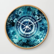 Teal Sea Mandala Wall Clock