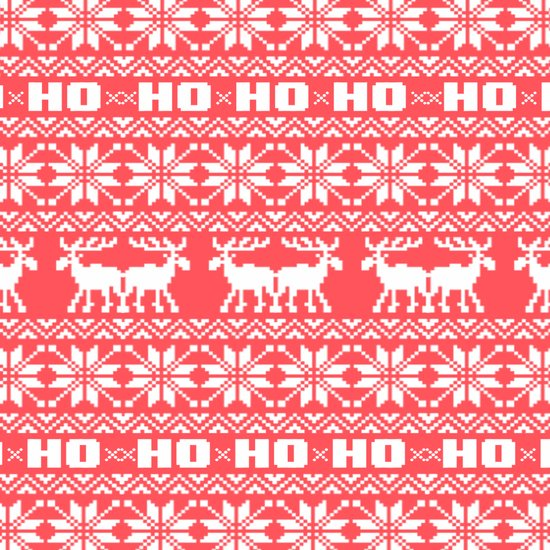 Red Ho Ho Ho Moose Ugly Holiday Sweater Pattern Art Print