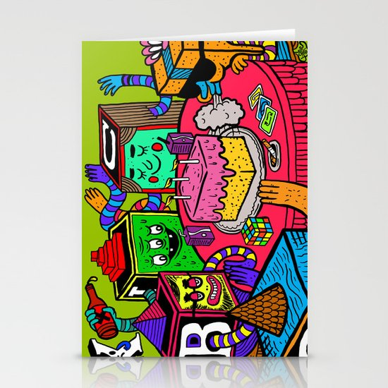 """Block Party"" by Steven Fiche Stationery Card"