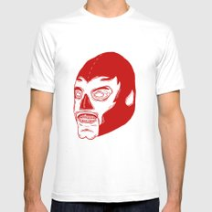 Red Luchador Mens Fitted Tee SMALL White