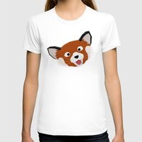 Red Panda Face Womens Fitted Tee White SMALL