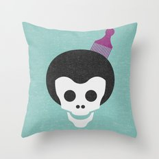 Skull with Fro. Throw Pillow