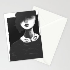 Contemporary Black and White Collar  Stationery Cards