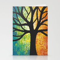 Stencil Tree Canvas Stationery Cards