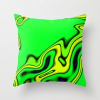 Green Yellow and blue abstract Throw Pillow