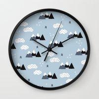 Cool winter wonderland snow Fuji Mountain geometric illustration pattern Wall Clock
