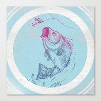Bass jumping In Blue Circle3 Canvas Print