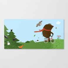 The Bear goes to the City Canvas Print