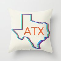 ATX Austin, Texas Retro Neon Lights Throw Pillow