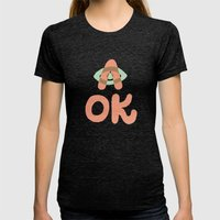 A OK Womens Fitted Tee Tri-Black SMALL