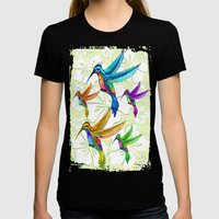 Hummingbirds Multicolors… Womens Fitted Tee Black SMALL
