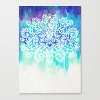 Indigo & Aqua Abstract - doodle painting Canvas Print
