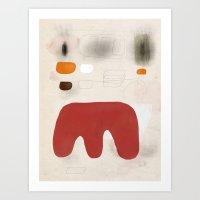 Red Form in Downward Orientation  Art Print
