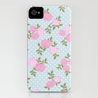 iPhone 4s & iPhone 4 Cases featuring Shabby Chic, Polka Dots, Roses - Blue Pink Green by sitnica
