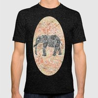 Tribal Paisley Elephant Colorful Henna Floral Pattern Mens Fitted Tee Tri-Black SMALL