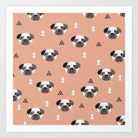 Cute Geometric Style Pug… Art Print