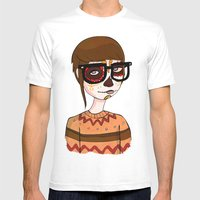 Day Of The Dead Hipster Mens Fitted Tee White SMALL
