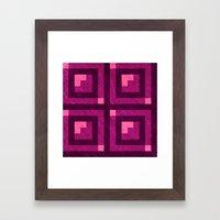 Magenta Pixel Blocks Framed Art Print