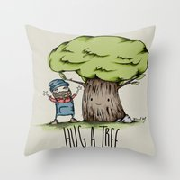 Hug a tree Throw Pillow