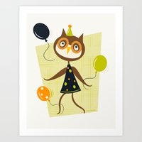 Owlivia and her belligerent balloons  Art Print