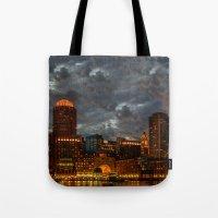 Night at Boston Harbor Tote Bag