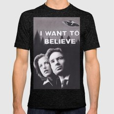 I Want to Believe X Files Mens Fitted Tee Tri-Black SMALL