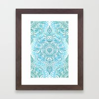 Turquoise Blue, Teal & W… Framed Art Print