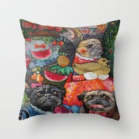 Pugs And Fruits Throw Pillow